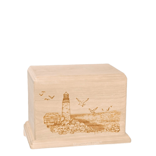 Lighthouse Small Maple Wood Urn