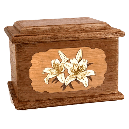 Lily Walnut Memory Chest Cremation Urn
