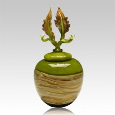 Sky Leaves Lime Art Cremation Urn
