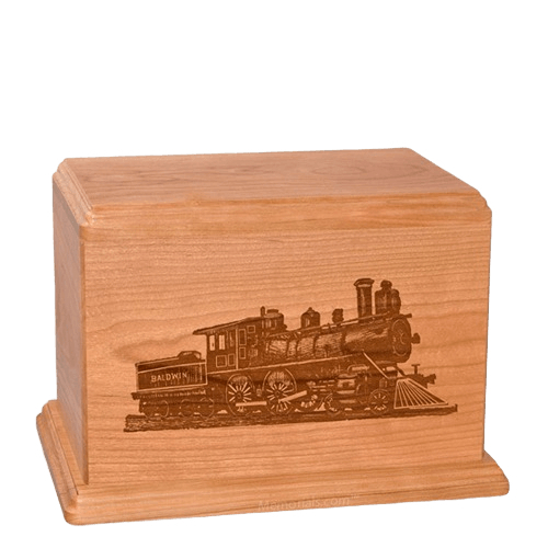 Locomotive Individual Cherry Wood Urn