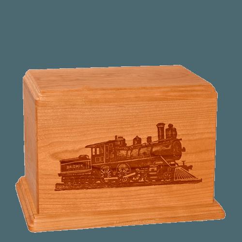 Locomotive Individual Mahogany Wood Urn