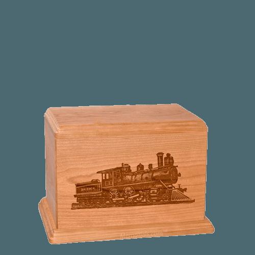 Locomotive Small Cherry Wood Urn