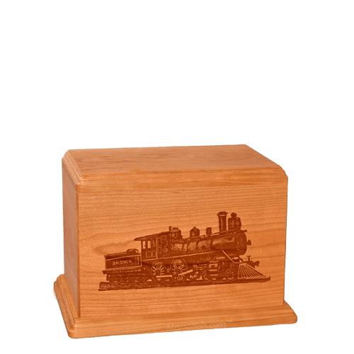 Locomotive Small Mahogany Wood Urn