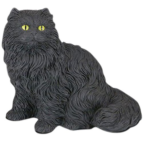 Black Longhair Cat Cremation Urn