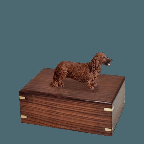 Longhair Dachshund Small Doggy Urn