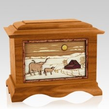Longhorn Mahogany Cremation Urn