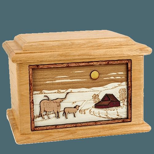 Longhorn Oak Memory Chest Cremation Urn