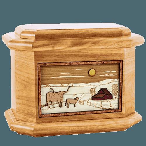 Longhorn Oak Octagon Cremation Urn