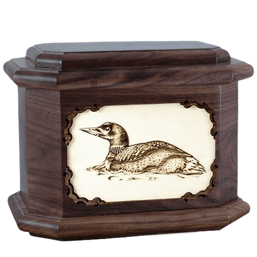 Loon Walnut Octagon Cremation Urn