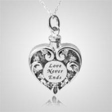 Love Never Ends Heart Keepsake Pendant