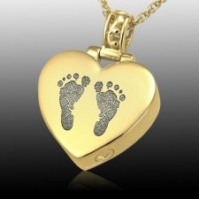 Lovely Heart 14k Gold Cremation Print Keepsake