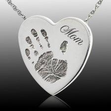 Loving Heart 14k White Gold Cremation Print Keepsake