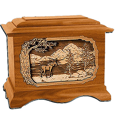 Moose Mahogany Cremation Urn For Two