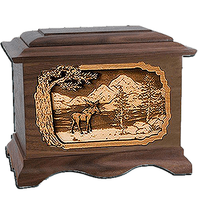 Moose Walnut Cremation Urn For Two