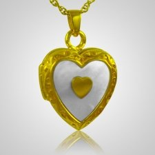 Double Pearl Heart Keepsake Pendant IV