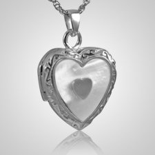 Double Pearl Heart Keepsake Pendant III