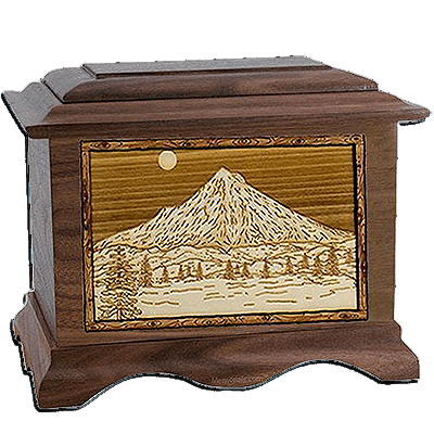 Mt Hood Walnut Cremation Urn For Two