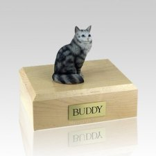 Maine Coon Silver Tabby Medium Cat Cremation Urn