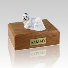 Maltese Blue Ribbon Medium Dog Urn