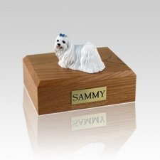 Maltese Blue Ribbon Small Dog Urn
