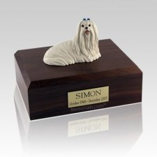Maltese Sitting Large Dog Urn