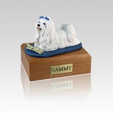 Maltese with Newspaper Small Dog Urn