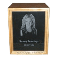 Marble Cherry Wood Cremation Urn