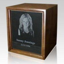 Marble Walnut Wood Cremation Urn