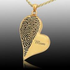 Merged Heart 14k Gold Cremation Print Keepsake