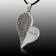 Merged Heart Stainless Cremation Print Keepsake