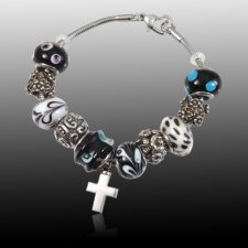 Midnight Cross Cremation Bracelet