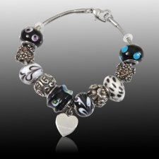 Midnight Heart Cremation Bracelet