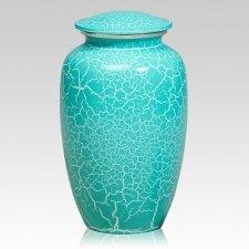 Mint Crackle Metal Cremation Urns