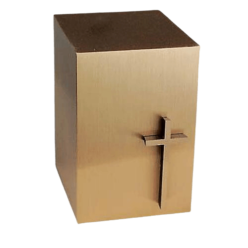 Modern Cross Bronze Cremation Urn