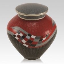 Modern Rosso Cloisonne Cremation Urn
