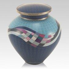 Modern Teal Cloisonne Cremation Urn
