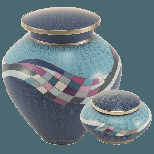 Modern Teal Cloisonne Cremation Urns