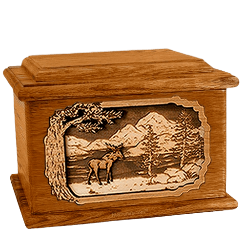 Moose Mahogany Memory Chest Cremation Urn