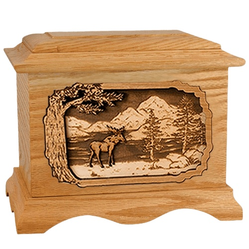Moose Oak Cremation Urn