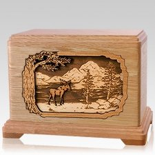 Moose Oak Hampton Cremation Urn