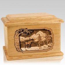 Moose Oak Memory Chest Cremation Urn