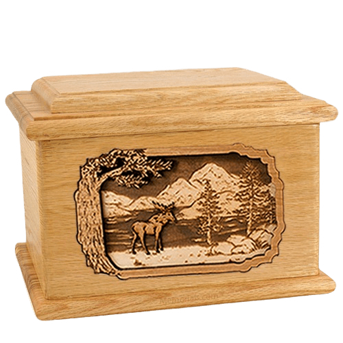 Moose Oak Memory Chest Cremation Urn