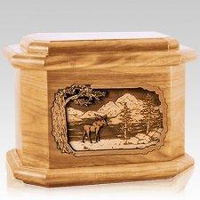 Moose Oak Octagon Cremation Urn
