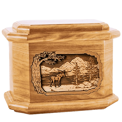 Moose Oak Octagon Cremation Urn