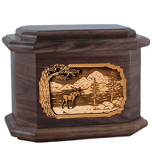 Moose Walnut Octagon Cremation Urn