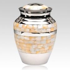 Mother of Pearl Silver Cremation Urn