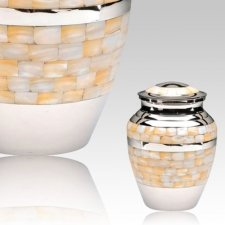 Mother of Pearl Silver Keepsake Cremation Urn