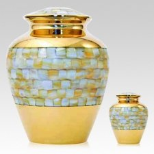 Mother of Pearl Gold Cremation Urns