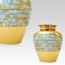 Mother of Pearl Gold Keepsake Cremation Urn