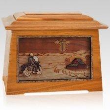 Motorcycle & Cross Mahogany Aristocrat Cremation Urn